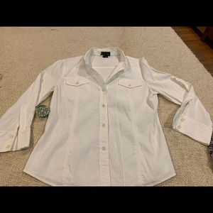 Theory Tops - THEORY Bergdorf Goodman white blouse button down